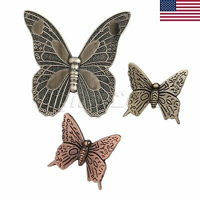 US STOCK Antique Brass Butterfly Drawer Handle Door Knob Cabinet Pull Alloy M8D3