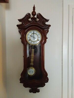 Carved Vintage Large Wall Clock In Excellent Working Order
