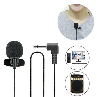 2xClip-on Lapel Mini Lavalier Mic Microphone 3.5mm For Mobile Phone PC Recording