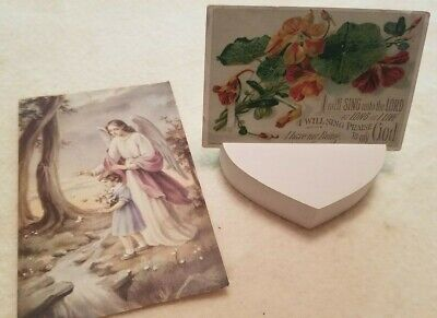 Antique early 1900's VICTORIAN Trade Calling Card and Vintage Religious Print