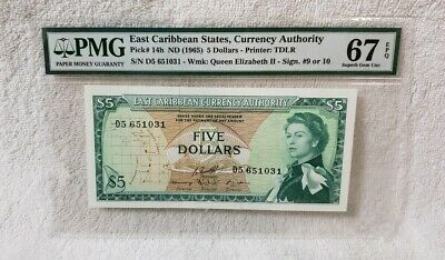 East Caribbean States Currency Authority Pick# 14h ND 1965 $5 Dollars PMG 67 EPQ