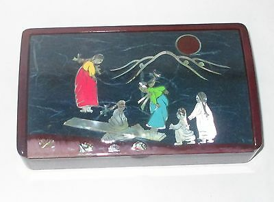 Vintage Chinese Mother Of Pearl Kids Playing Enamel Lacquer Jewelry Box