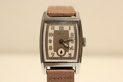 "Art Deco Nos Rare Ww2 Era Swiss Rectangular Men's Mechanical Watch ""Dersi"""