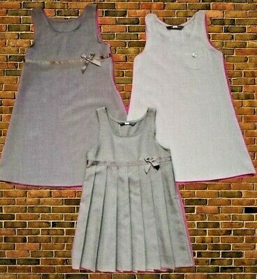 NEW Girls BHS School Pinafore Dress Age 3-12 Charcoal Dark Mid Grey Plus Reg Fit