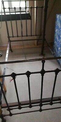 Antique Brass and Cast iron Bed. Victorian. Large single. Good Condition
