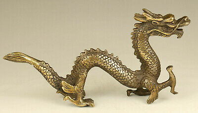 Chinese rare old bronze hand carving dragon statue noble table home decoration