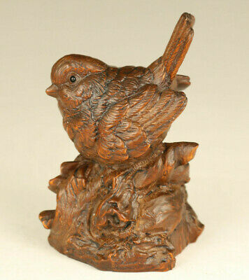 Asian old boxwood hand carved birdie statue netsuke table decoration gift