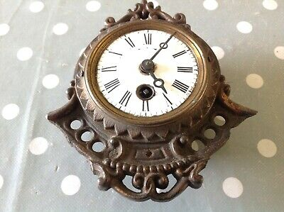 Antique Japy Freres Mantle Clock Movement Bronze Case Ceramic Dial 13x14cm