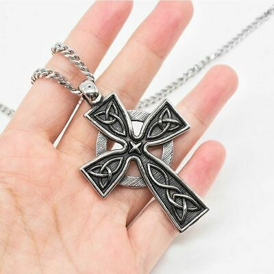 Stainless Steel Medieval Cross Catholic Crucifix Pendant Necklace Christ Jesus
