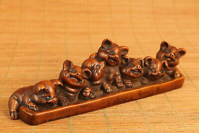 Asian old boxwood hand carved 7 lovely pigs statue netsuke home decoration