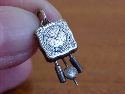 Cuckoo Clock Charm, Weights Move, Swiss 800 Silver, Authentic, Signed, Vintage