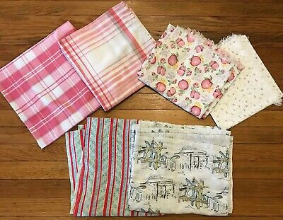 Lot Of 6 Vtg Print Tablecloths 1950s Craft Cutter Floral Apples Nautical Plaid