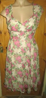 Hell Bunny Vixen Floral Lined Chiffon Sleeveless V-Neck Full Skirt Dress Xl=16