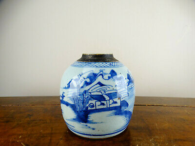 Antique Chinese Canton Porcelain Ginger Jar Vase Blue and White Landscape Qing