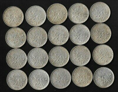 France - Lot De 20 Pieces En Argent 5 Francs Semeuse