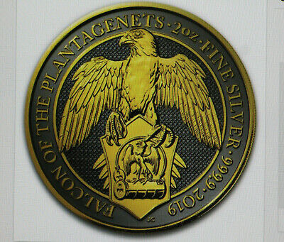 2 OZ Silber -- Queen´s Beasts Black Falcon Plantagenets 2019