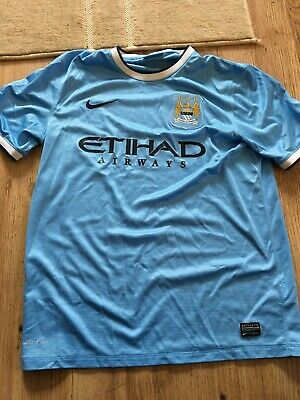 Manchester City Home Shirt 2013-2014 Nike Etihad Airways Size Large
