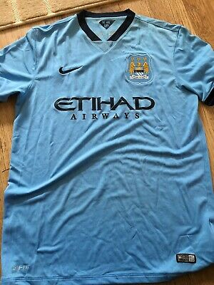 Manchester City Home Shirt 2014-2015 Nike Etihad Airways Size Large