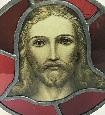 Antique Arts & Crafts Era Stained Glass / Painted Glass Panel of Jesus - c.1900