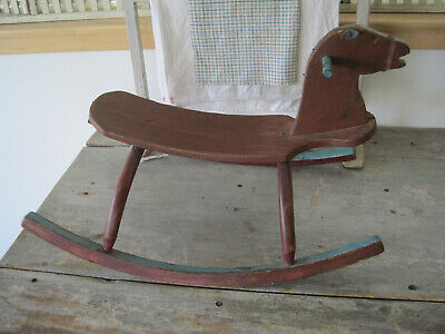 Vintage Primitive Blue and Red Paint Wood Child's Rocking Horse American Find