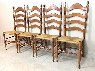 Set of 4 Antique VTG French Country Ladder Back Rush Seat Chairs FREE SHIPPING!