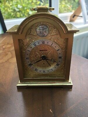 "Swiza ""tempus Fugit"" Brass Miniature Carriage Clock With Alarm"