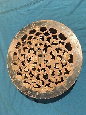 "Floor Grate, round, fits about a 7"" hole, with louvers, Antique"