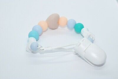 Handmade baby pacifier chain from silicone beads, teething flower