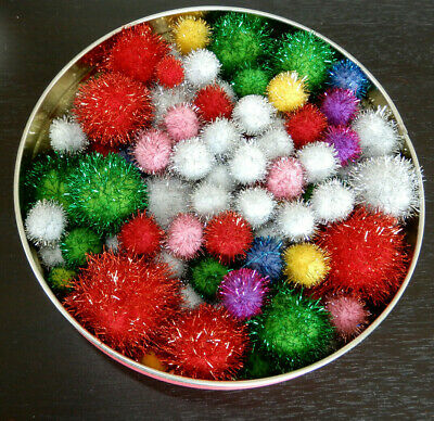 Mixed Lot of Glitter Pom Poms - Colors & Sizes