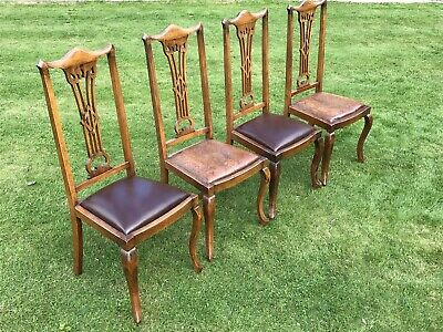 4 Four Matching Ornate Antique Georgian Tall Dining Chairs Cabriole Legs