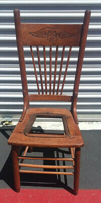 antique solid oak press back 'cowboy' chair without cane ready to be finished