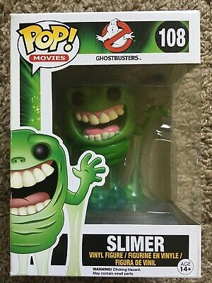 Funko Pop Sony Ghostbusters Slimer Glow in Dark #108 With Pop Protector