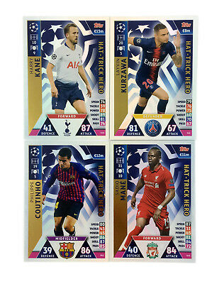 2018 2019 Topps Match Attax Champions League set of 4 cards HAT-TRICK HERO