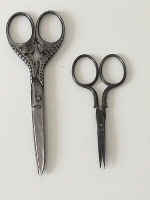 ANTIQUE PAIR of FRENCH EMBROIDERY SCISSORS Cut Steel Sewing Needlecraft Vintage