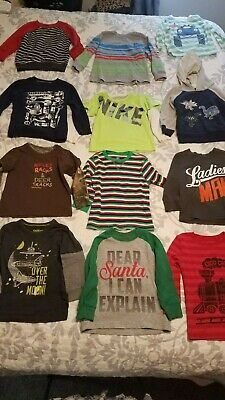 15 boys long sleeve shirts size 2t & 24 months Nike, Airplane, Train, dinosaurs