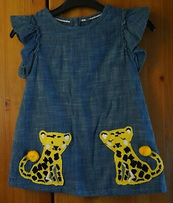 M&S Girls Dress 2-3 Years 98cm Chambray Demin Dress with Leopard DetailPlease Se