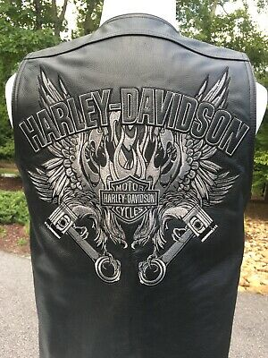 Harley Davidson WILD FORCE Black Leather Vest Men's Medium
