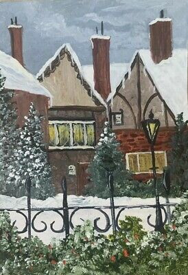Aceo, acrylic,original, landscape, Winter In The Village By Donna Otey