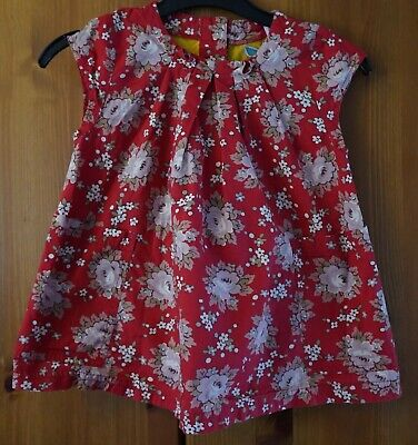 LITTLE JOULES Girls 5 Years 110cm Red Floral Capped Sleeved Cotton Summer Dress