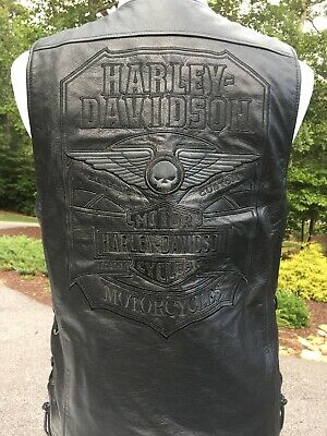 Harley Davidson Willie G Winged Skull Black Leather Vest Men's Medium