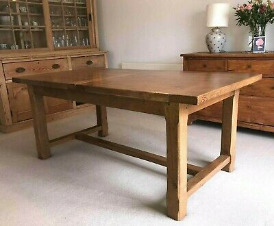 Solid oak rustic farmhouse extending dining table 6 to 8/10 seater John Lewis