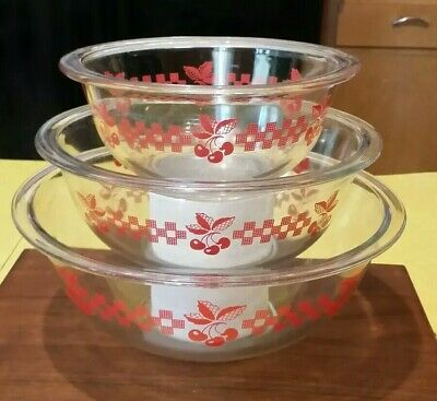 HTF Vintage Pyrex Red Cherries Gingham Plaid Clear Glass Mixing Bowl Set