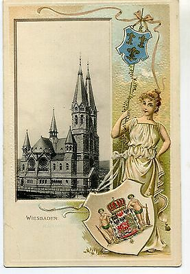 Cpa Embossee Wiesbaden Cathedrale Allemagne