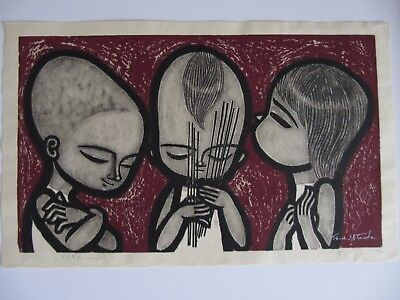 Japanese  Woodblock Print - Shuzo Ikeda - Fortune Teller - Limited Edition of 50