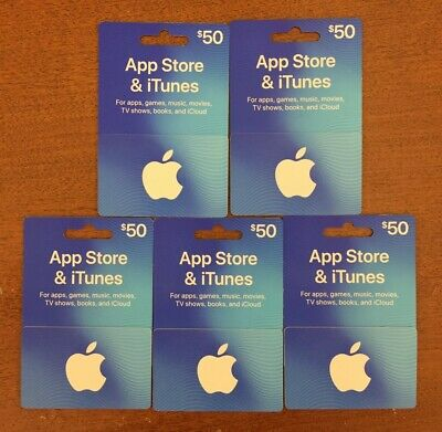 Apple App Store & iTunes $250 gift cards (5×$50)