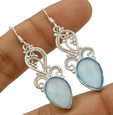 Charming Design Faceted Aqua Chalcedony 925 Sterling Silver Earrings Jewelry