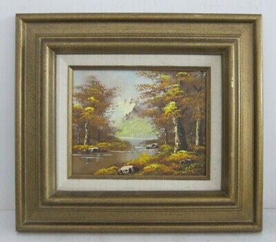 Autumn Mountain Landscape Vintage 80s Oil Painting Signed Williams Framed 15x17