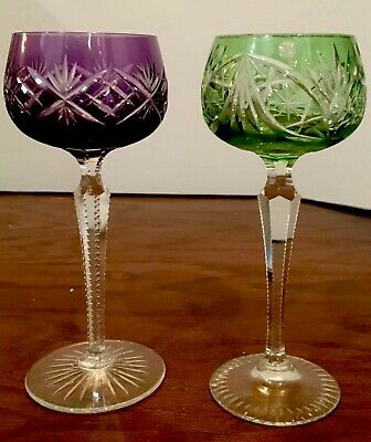 """Pair Of Russian VINTAGE CUT To CLEAR CRYSTAL 8 """" WINE GOBLETS"""