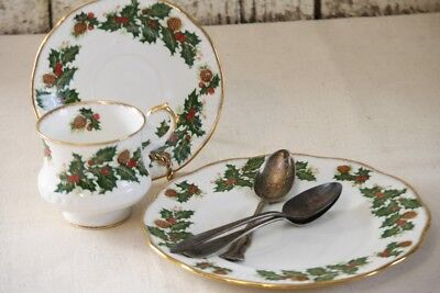 Rosina Queens Yuletide Tea Cup and Saucer Salad Plate Holly Berries Pine Cones