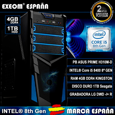 Ordenador Pc Gaming Intel Core i5 8400 6xCORES 4GB DDR4 1TB HDD HDMI Sobremesa